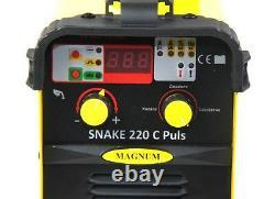 Inverter welder ARC 220 Amp MAGNUM MMA SNAKE 220 C PULS IGBT, VRD, TIG LIFT