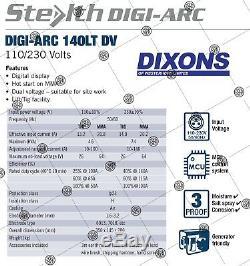 SWP Stealth DIGI-ARC 140LT 140amp 110v 240v Dual Voltage Inverter MMA TIG ARC