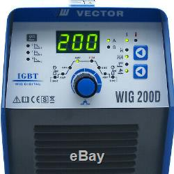 VECTOR Schweißgerät WIG TIG Kombi 4in1 DC MMA Inverter Welder 200a HF E-Hand ARC